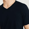 Beverly Hills V Neck Half Sleeve Tee Shirt For Men-Dark Navy Melange-BE8280