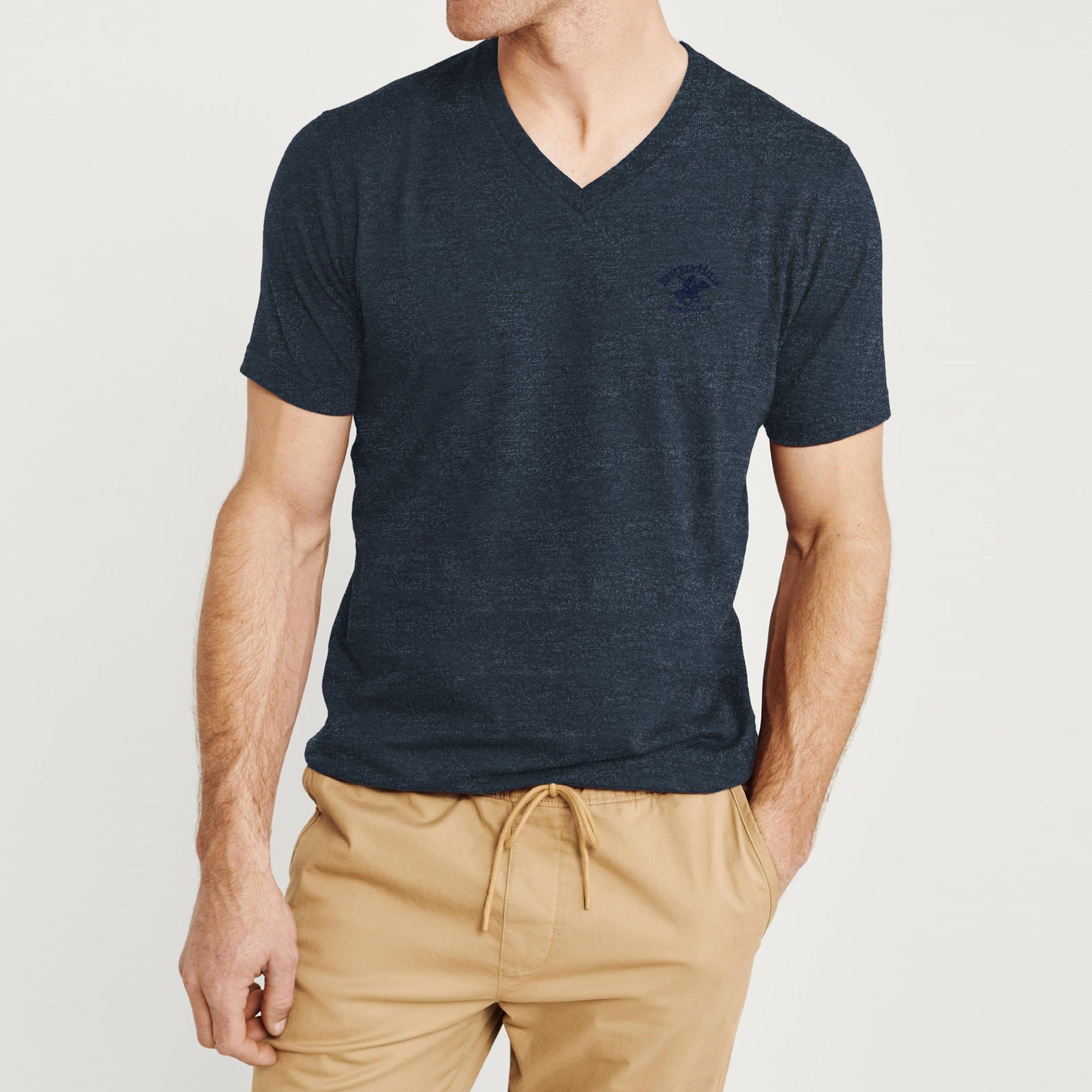 brandsego - Beverly Hills V Neck Half Sleeve Tee Shirt For Men-Dark Navy Melange-BE8869