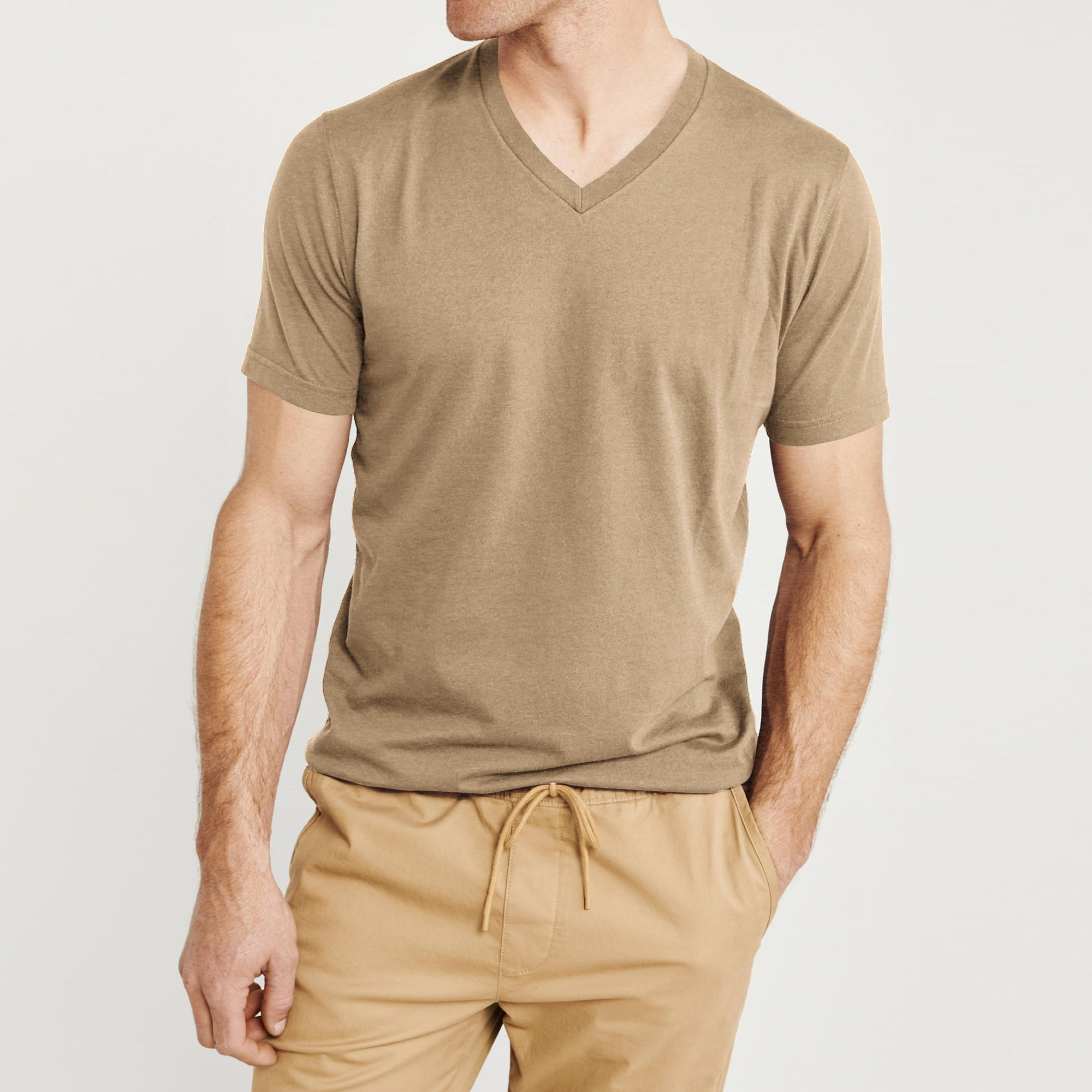 Beverly Hills V Neck Half Sleeve Tee Shirt For Men-Light Camel-BE8901