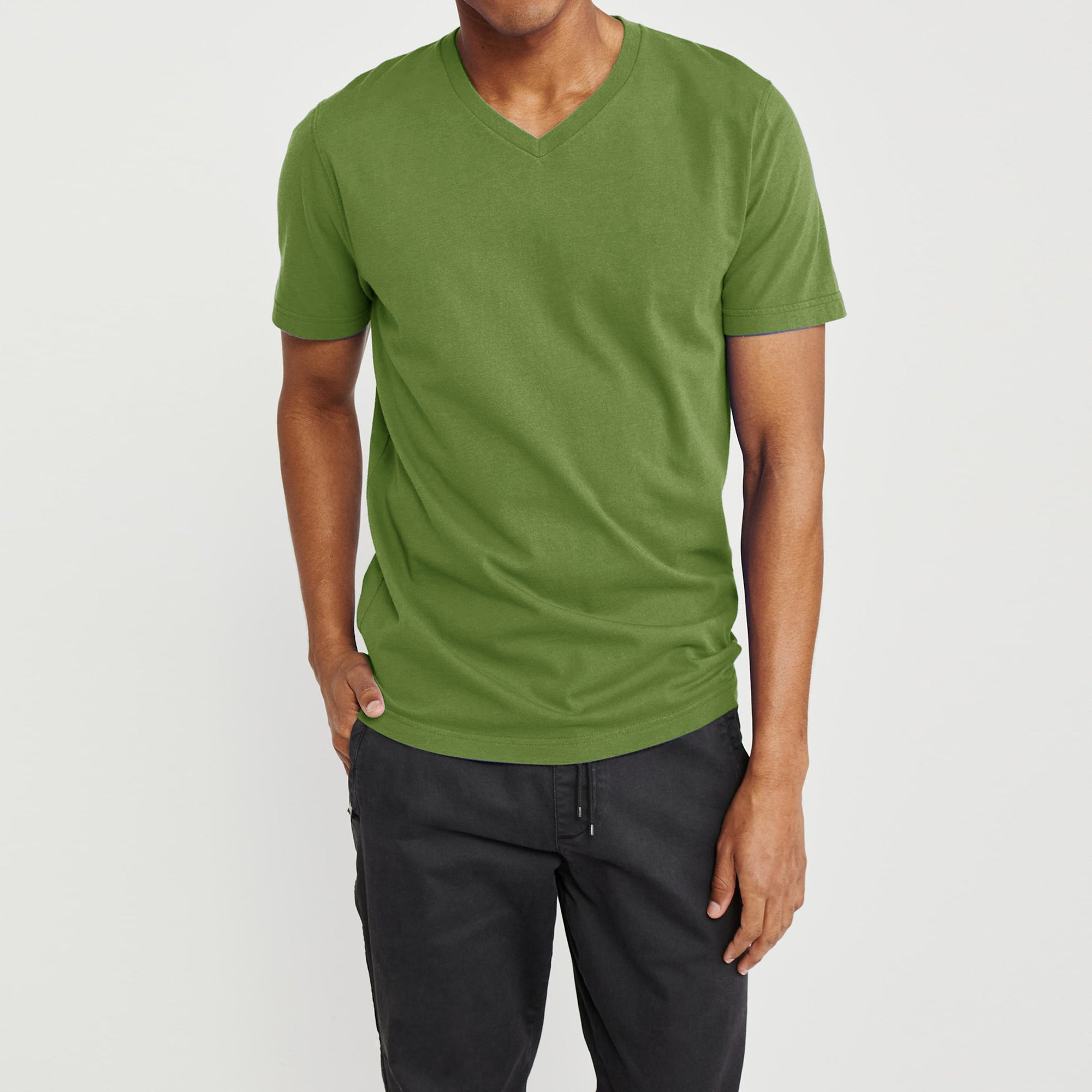 Beverly Hills V Neck Half Sleeve Tee Shirt For Men-Parrot-BE8190