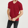 Beverly Hills V Neck Half Sleeve Tee Shirt For Men-Red-BE8876
