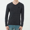 Beverly Hills V Neck Long Sleeve Shirt For Men-Charcoal Melange-BE8924