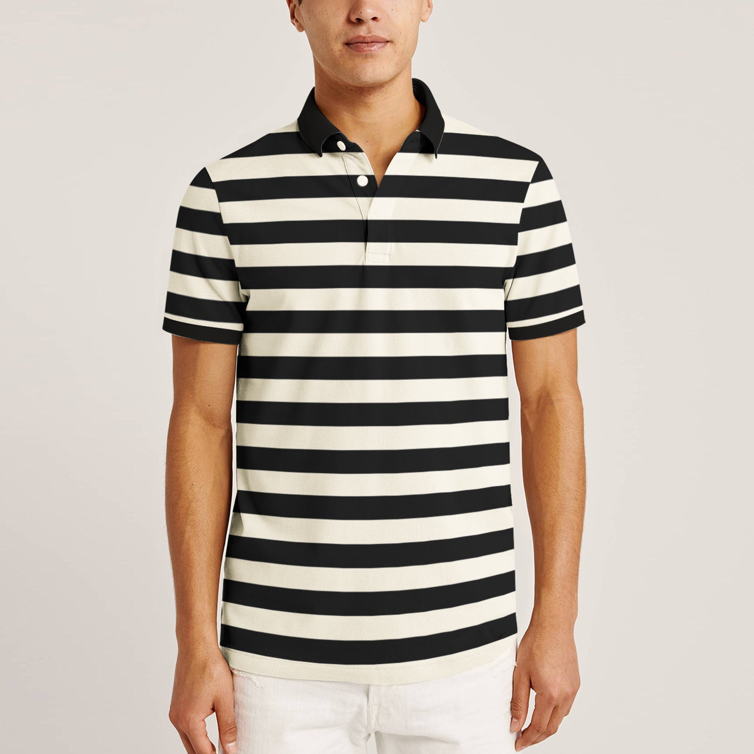 Big Ten Stylish Summer Polo Shirt For Men-Skin with Black Stripe-BE11447