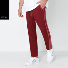 Zara Man Single Jersey Trouser For Men-Dark Red with Light Pink & White Stripe-BE2746