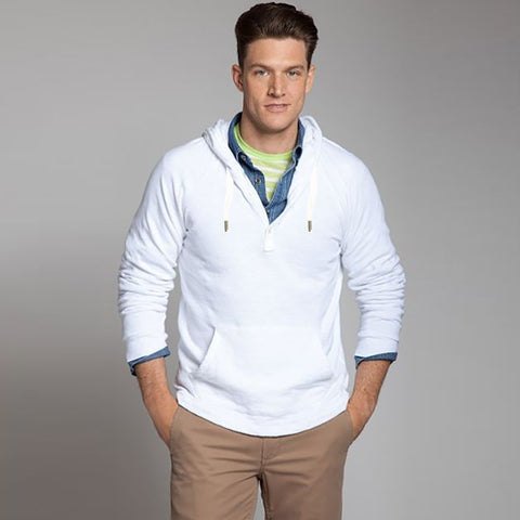"Men's ""NEXT"" Pull Over Hoodie-White-BE266"