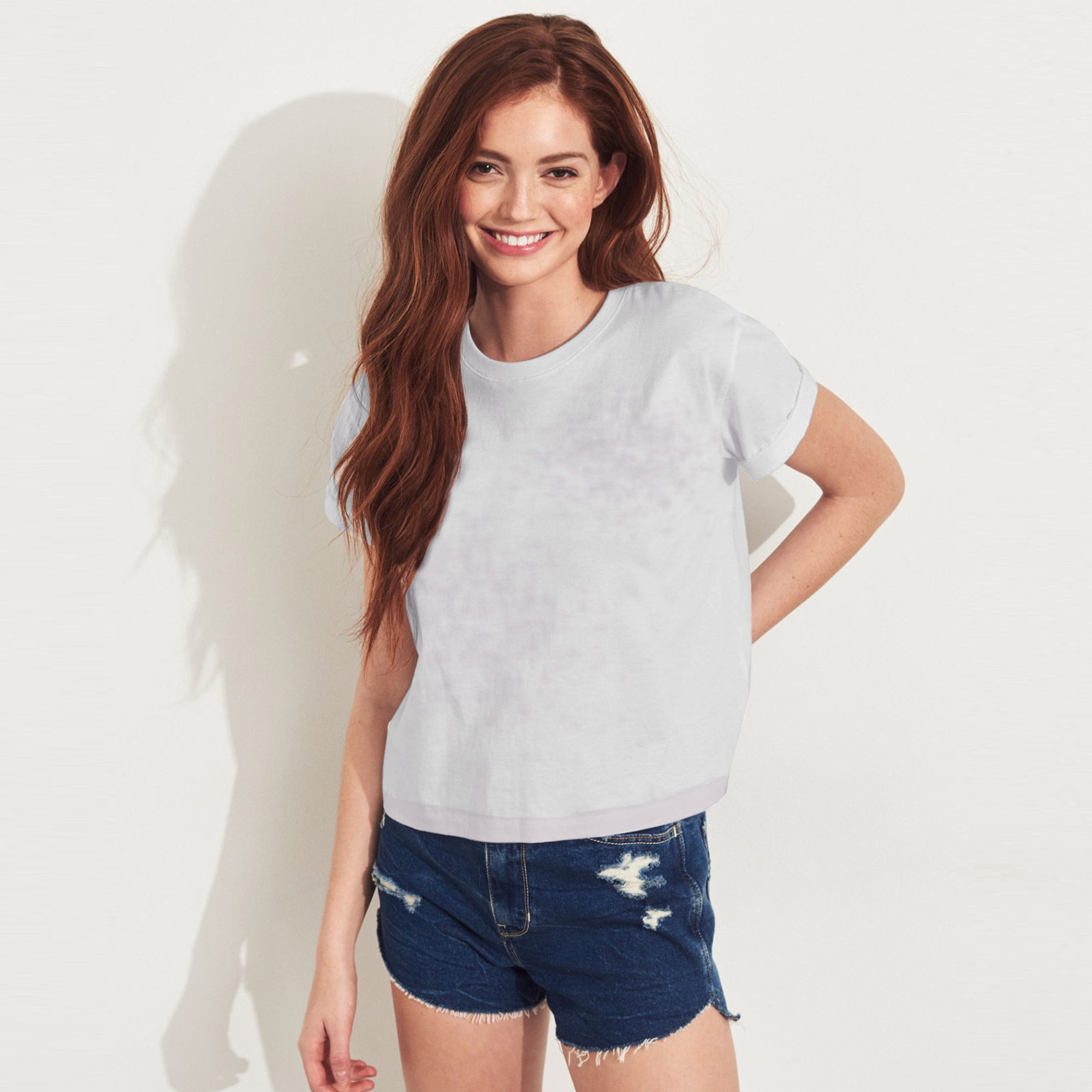 brandsego - Bowie Half Sleeve Stylish Burnout Tee Shirt For Women-Light Grey Faded-BE8468