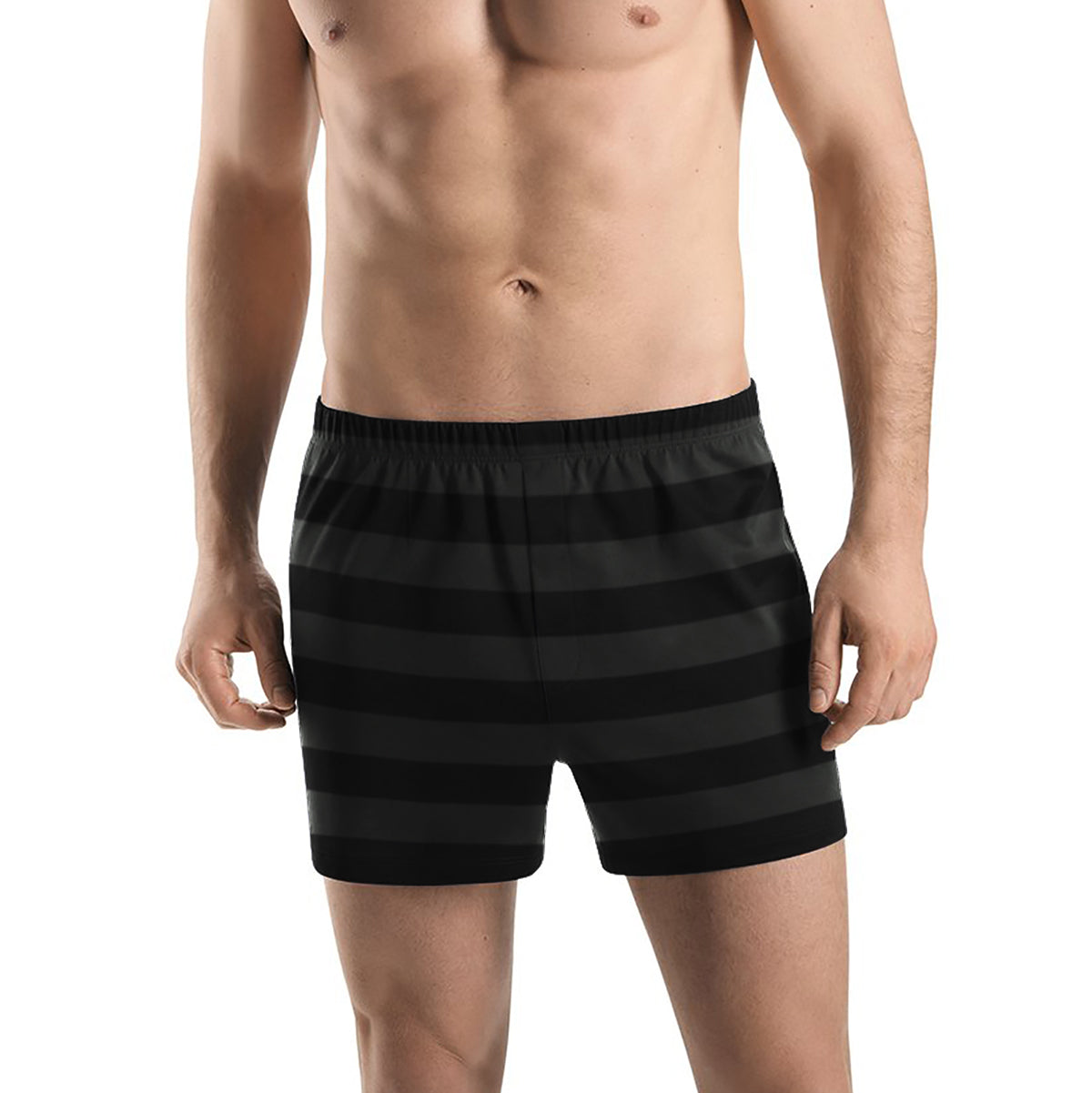Boxer Shorts For Men-Black with Stripe-BE11851