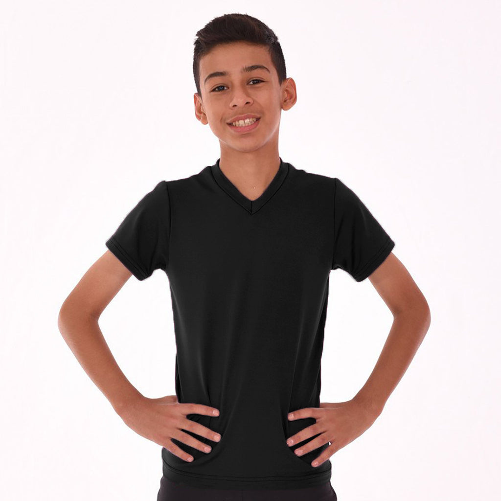 Fassion V Neck T Shirt For Boys-Charcole-BE794