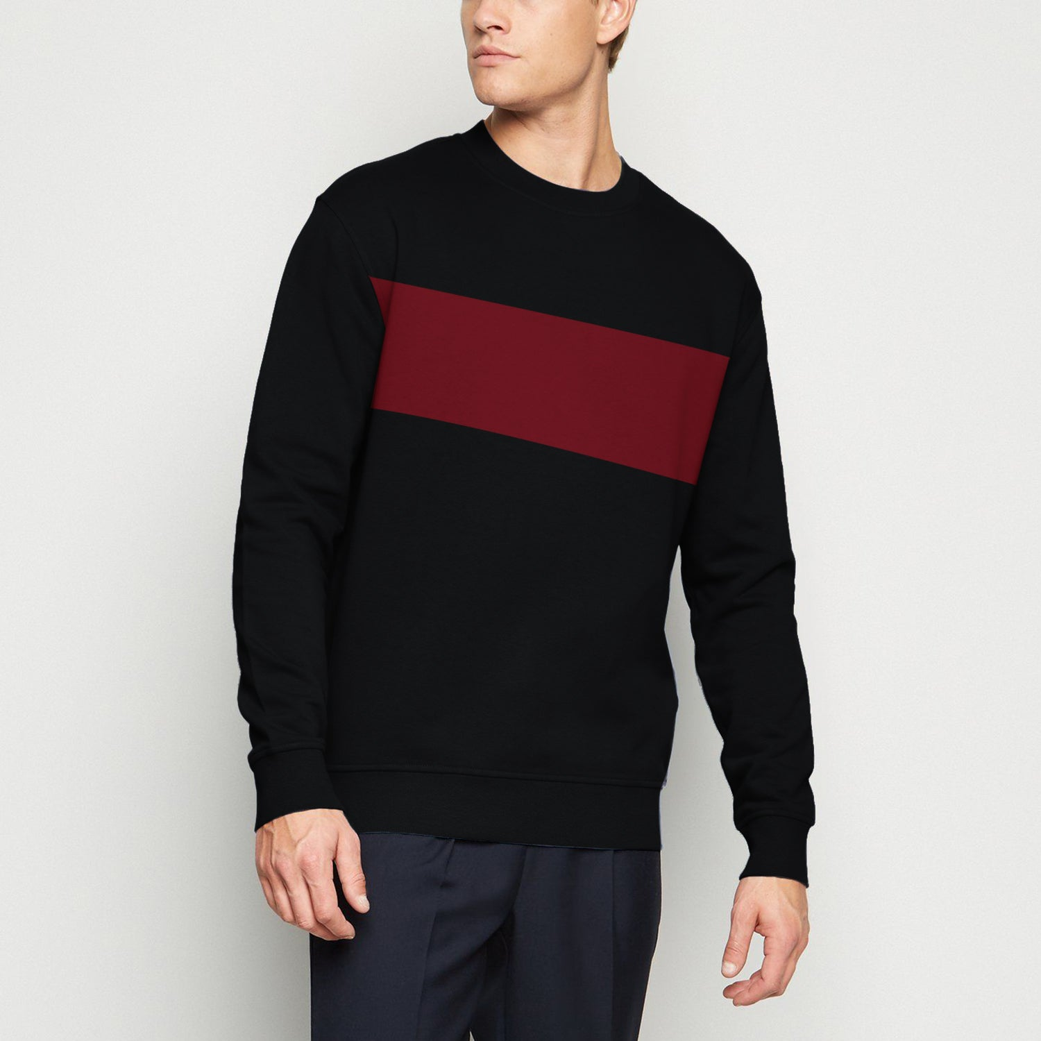 Next Crew Neck Fleece Sweatshirt For Men-Black & Red-SP1022