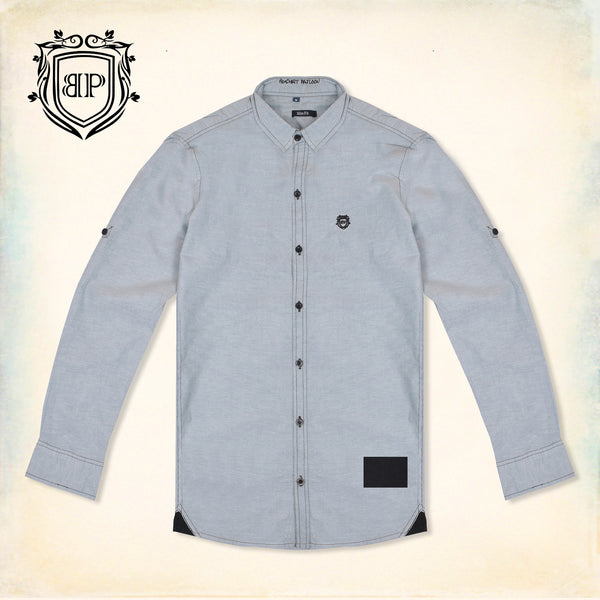 Bushirt Patloon Cross Patch Gray Casual Shirt For Men-NA1158