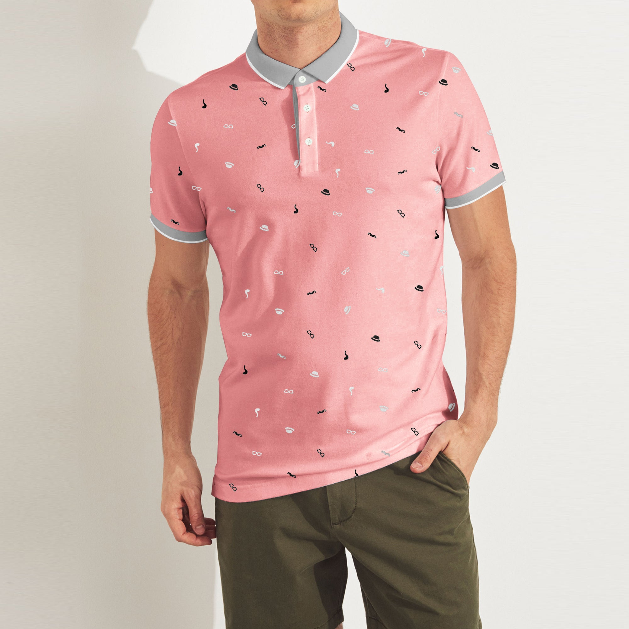 Bushirt Patloon P.Q Polo Shirt For Men-Coral Pink with Allover Print-BE8841