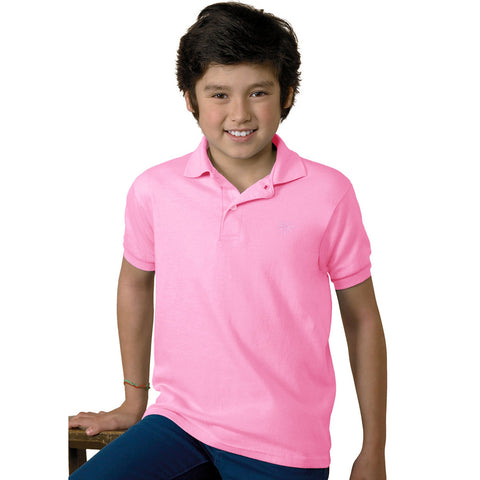 Free Style Polo Shirt For Boys-Light Pink-BE2268