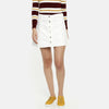 Candy Couture Cotton Denim Skirt For Ladies-White-BE7062