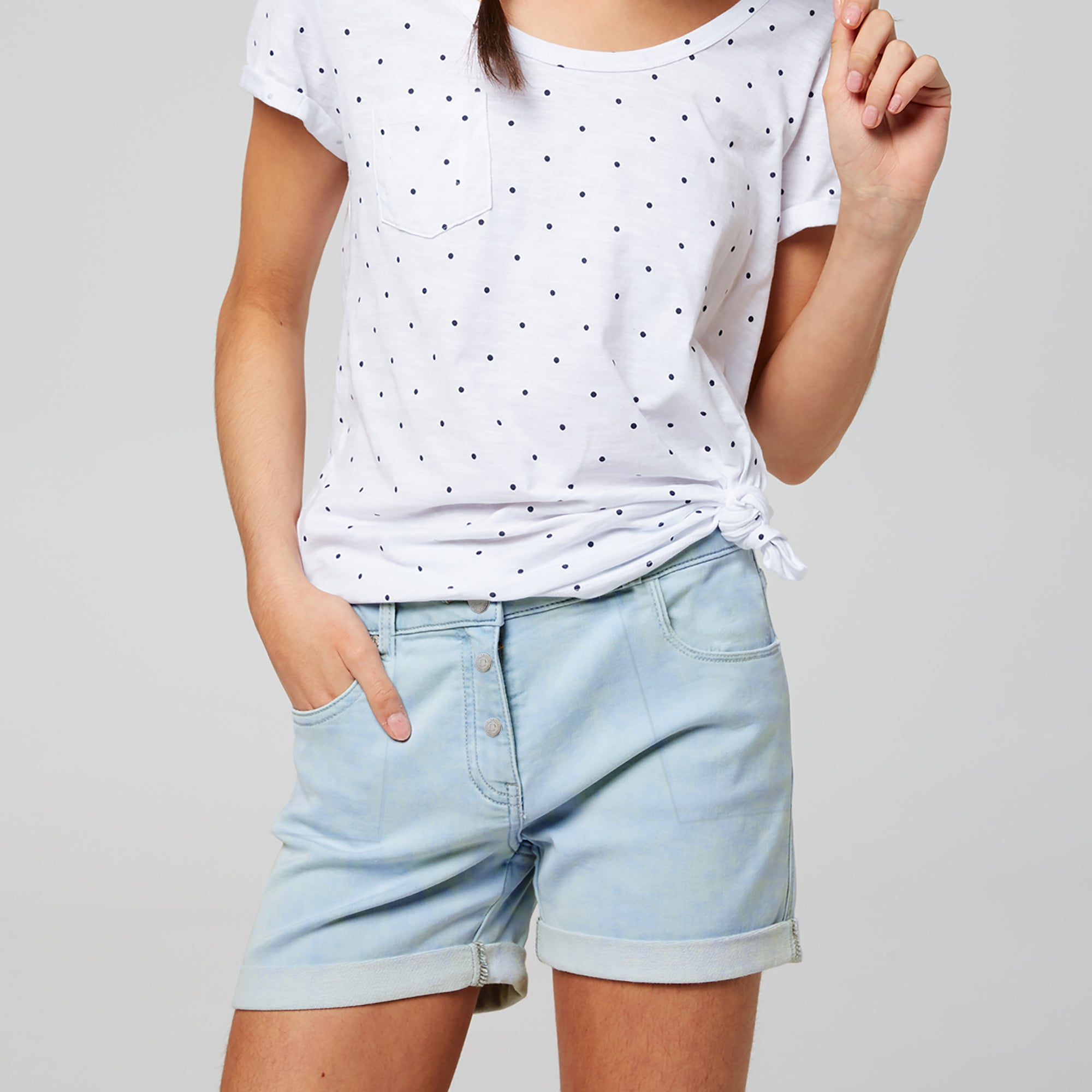 brandsego - Candy Couture Denim Short For Girls-Light Sky Faded-BE7070