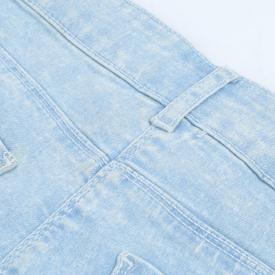Candy Couture Denim Short For Girls-Light Sky Faded-BE7070