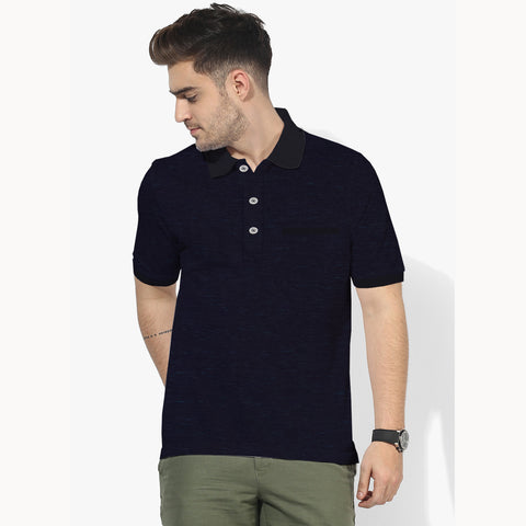 NEXT Polo Shirt For Men Cut Label -Dark Blue Melange- BE720