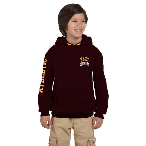 "Kid's Cut Label "" Next "" Pullover Hoodie -Dark Burgundi-KH010"