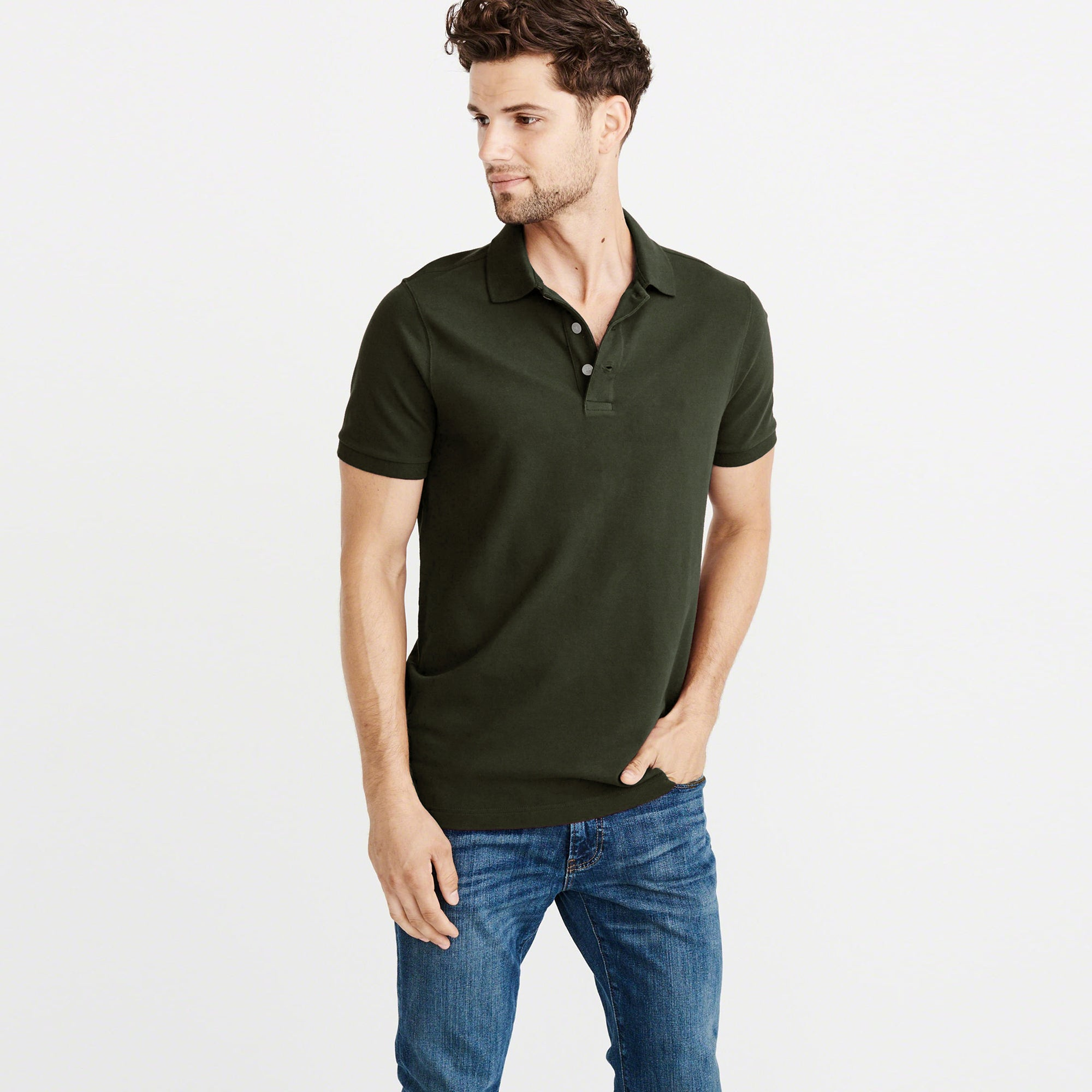 Chams Authentic P.Q  Polo Shirt For Men-Dark Olive-BE5731