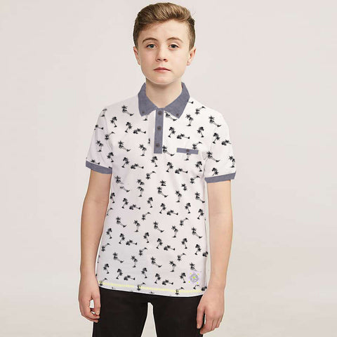 Fat Face Polo Shirt for Kids Cut Label -All over Print-BE2306