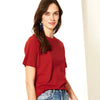 ChenOne Half Sleeve Stylish Crew Neck Tee Shirt For Women-Dark Red-BE8561