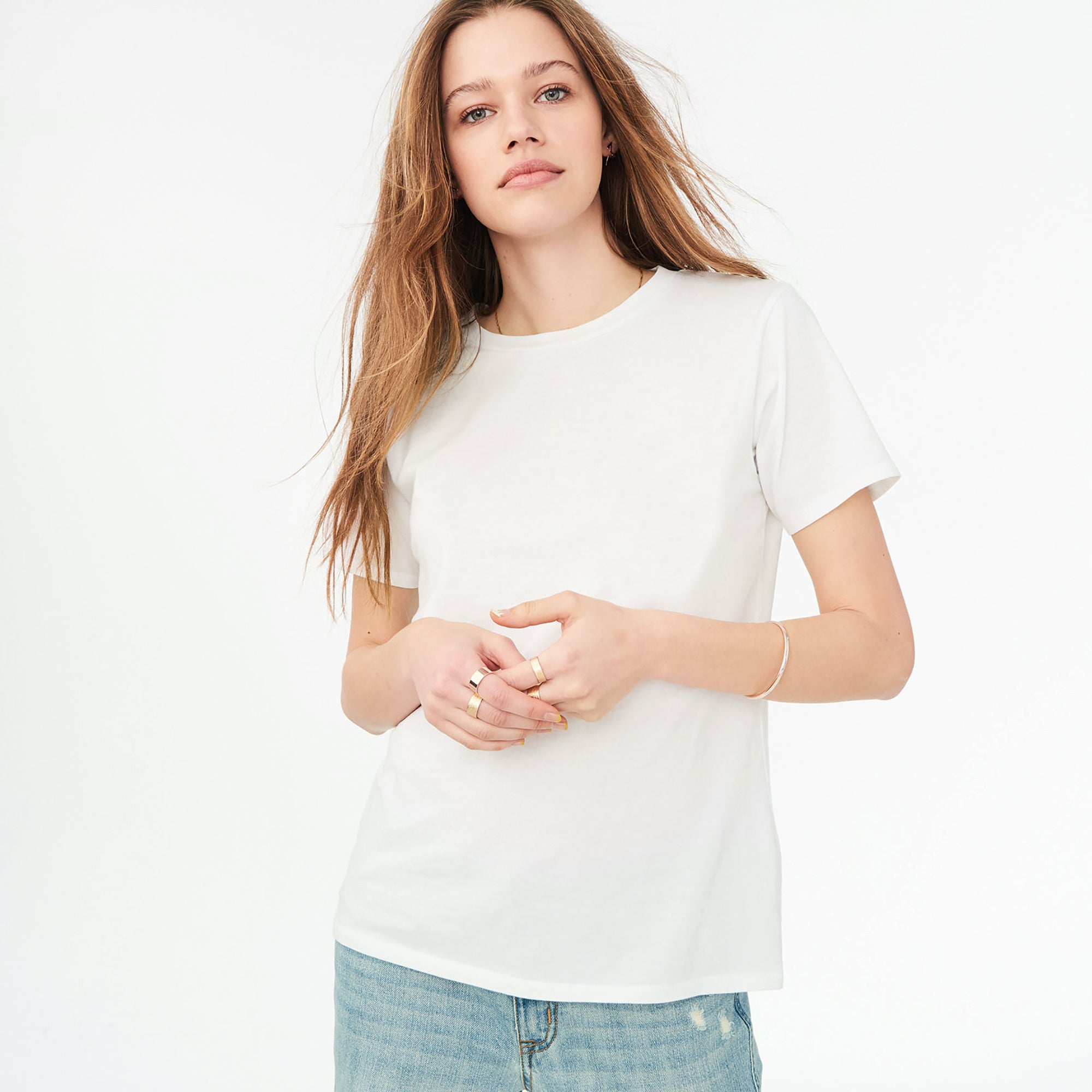 3722efd84a1 ChenOne Half Sleeve Stylish Crew Neck Tee Shirt For Women-Off White-BE -  BrandsEgo