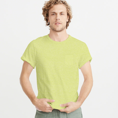 ChenOne-Single Jersey-Crew-Neck-T-Shirt-For-Men-Light Yellow Melange-BE4816