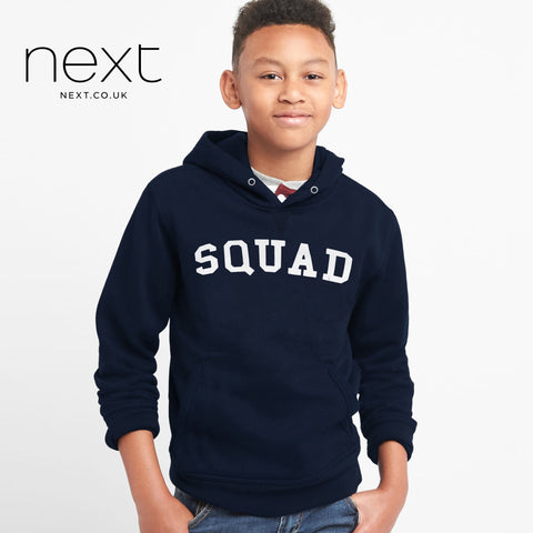 Next Fleece Pull Over Hoodie For Boys-Dark Navy-NA684
