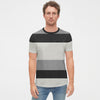 American Eagle Crew Neck Pocket Style Tee Shirt For Men-Light Grey Multi Striper-NA10795