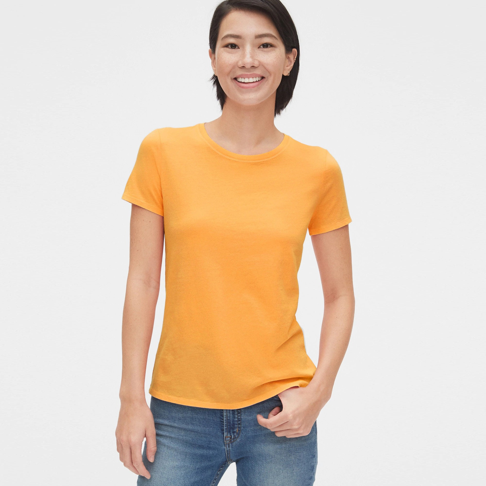 Popular Sports Half Sleeve Viscous Tee Shirt For Women-Yellow-NA11143