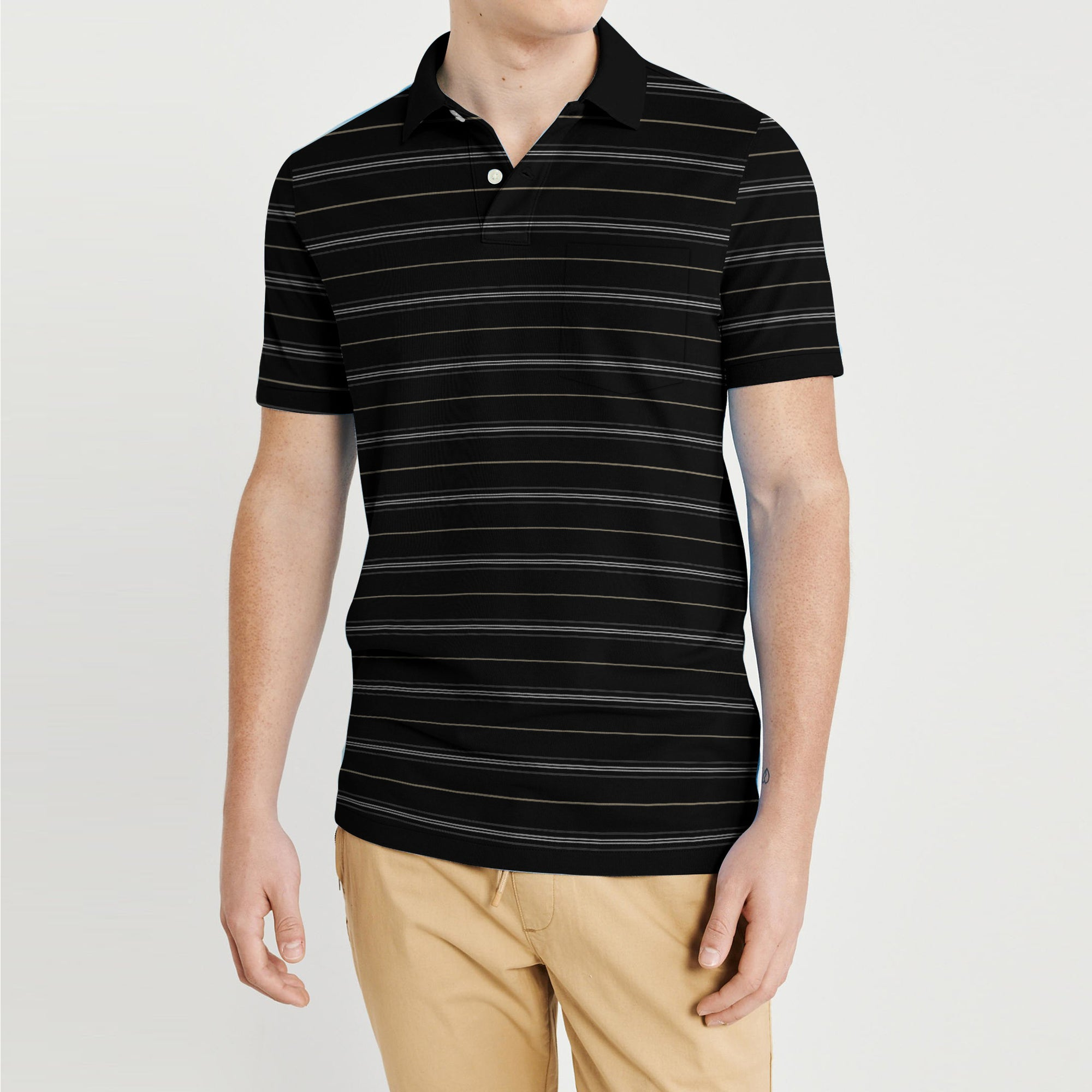 Covington Short Sleeve Single Jersey Polo Shirt For Men-Black with Stripe-BE8422