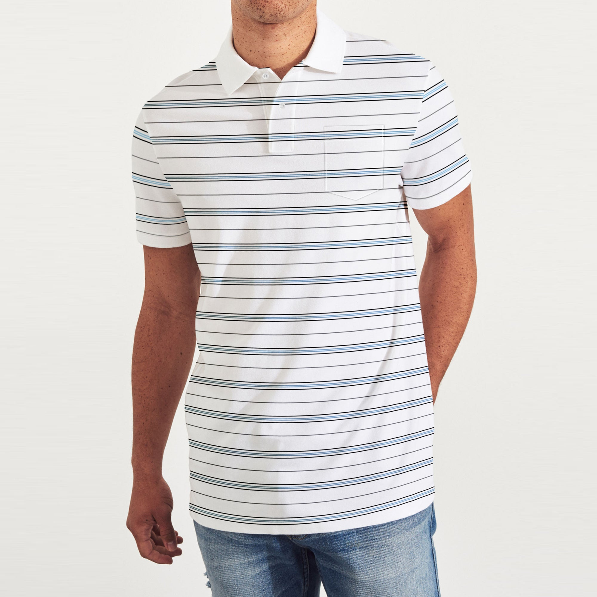 brandsego - Covington Short Sleeve Single Jersey Polo Shirt For Men-White with Stripe-BE8388
