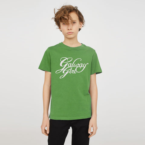 Crew Neck T Shirt For Kids-Light Green-SA0037