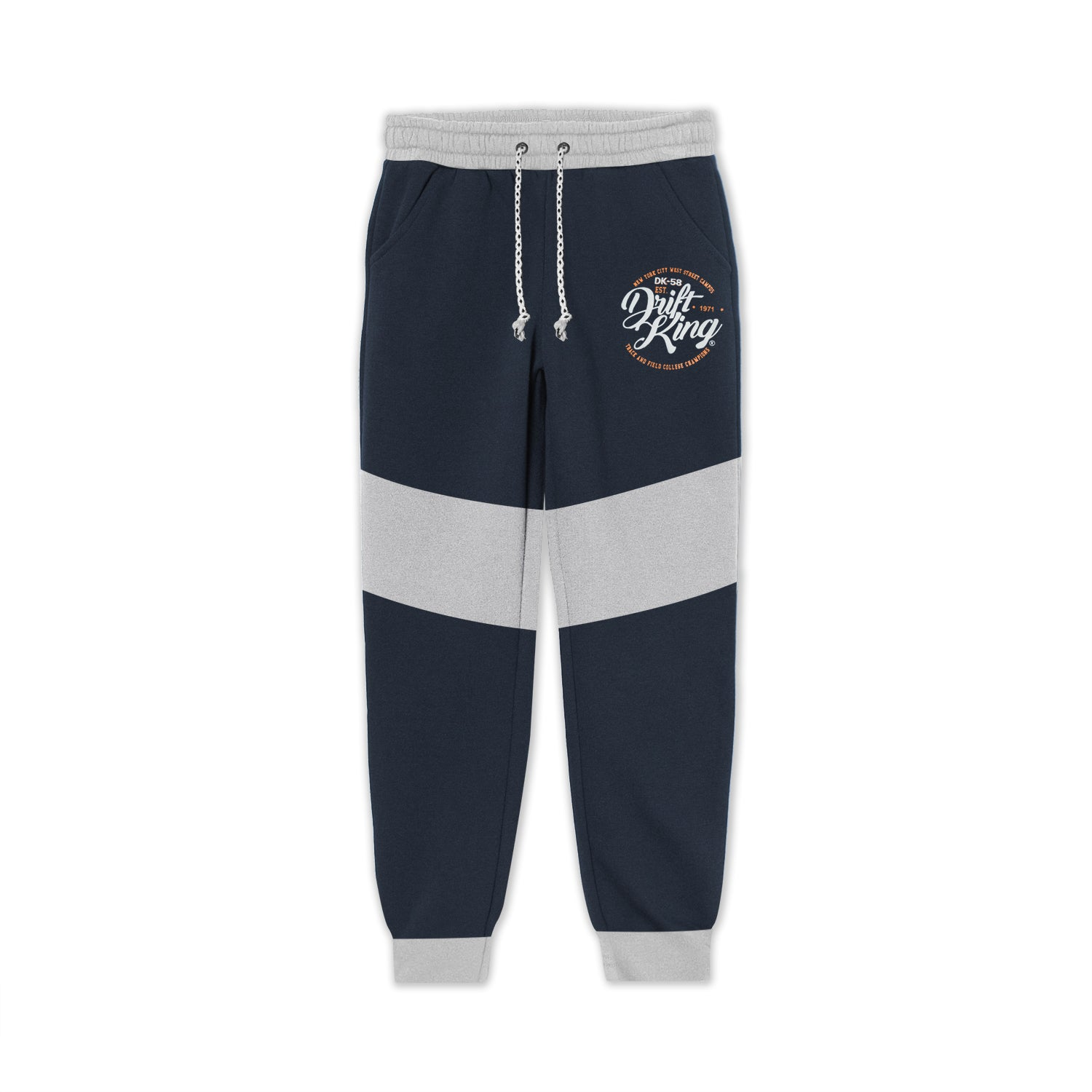 D.K Terry Fleece Slim Fit Jogger Trouser For Kids-Navy with Grey Panel-BE13335