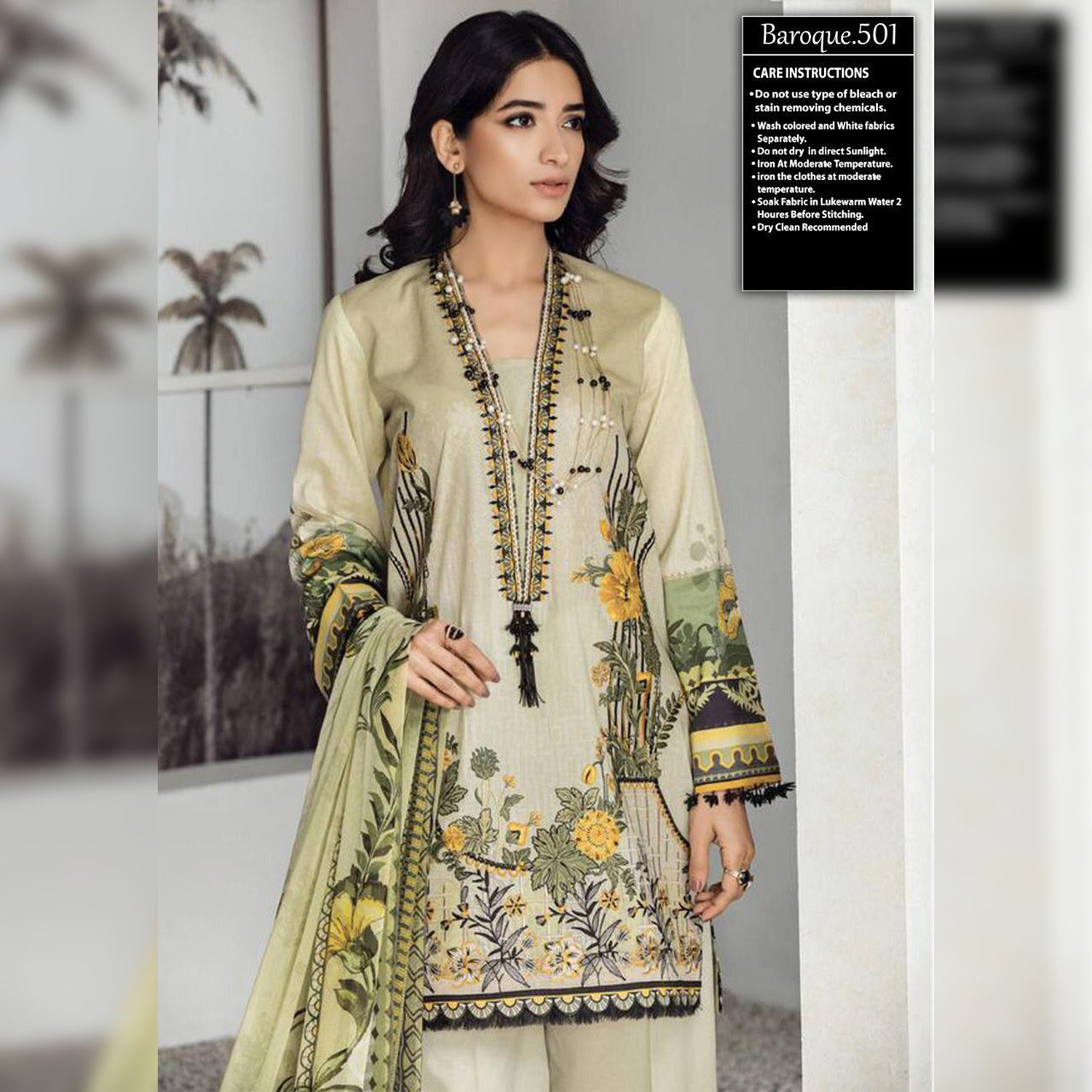 Baroque Lawn Collection 3 Piece Un-stitch Suit For Ladies-NA8917
