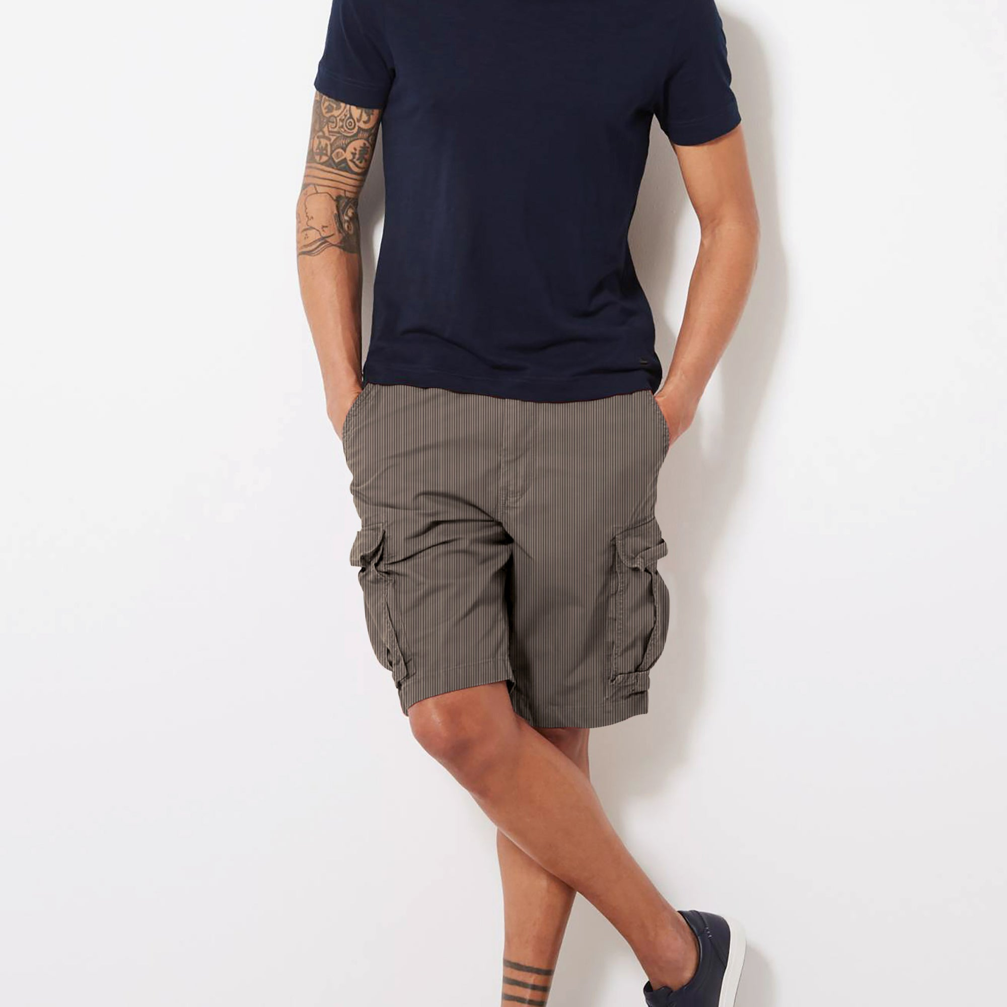 Denim Co. Cargo Cotton Short For Men-Dark Camel with Lining-BE8626