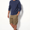 Denim Co. Cargo Cotton Short For Men-Dark Camel with Print-BE8625