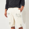 Denim Co Short For Men- Off White with print-SP060