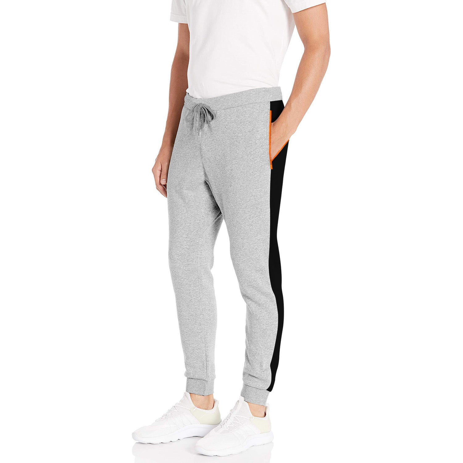 Diesel Summer Slim Fit Panel Trouser For Men-Grey Melange & Black Stripe-BE11849