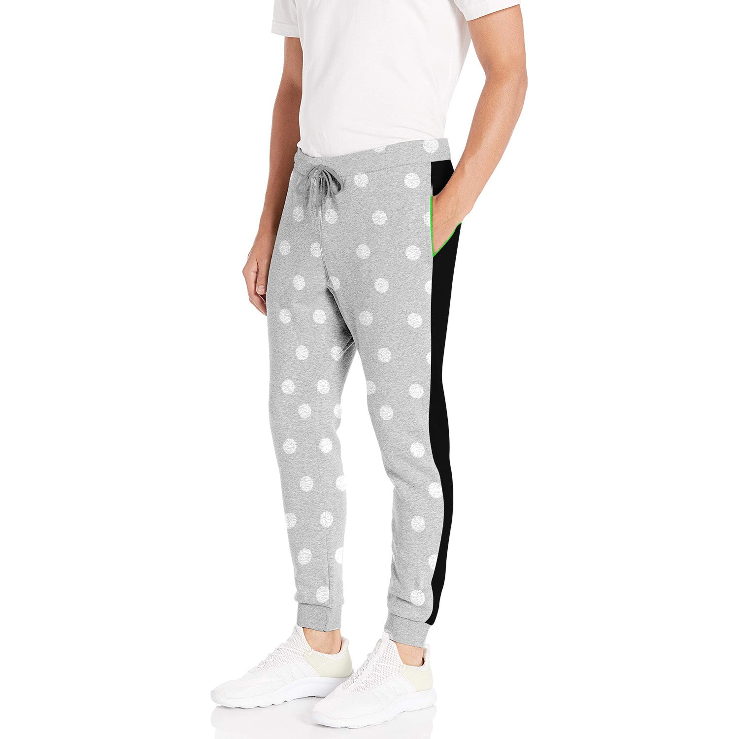 Diesel Summer Slim Fit Panel Trouser For Men-Grey Melange with White Dotted & Black Stripe-BE11976