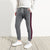 Diesel Summer Slim Fit Panel Trouser For Men-Light Charcoal & Maroon Stripe-BE11972
