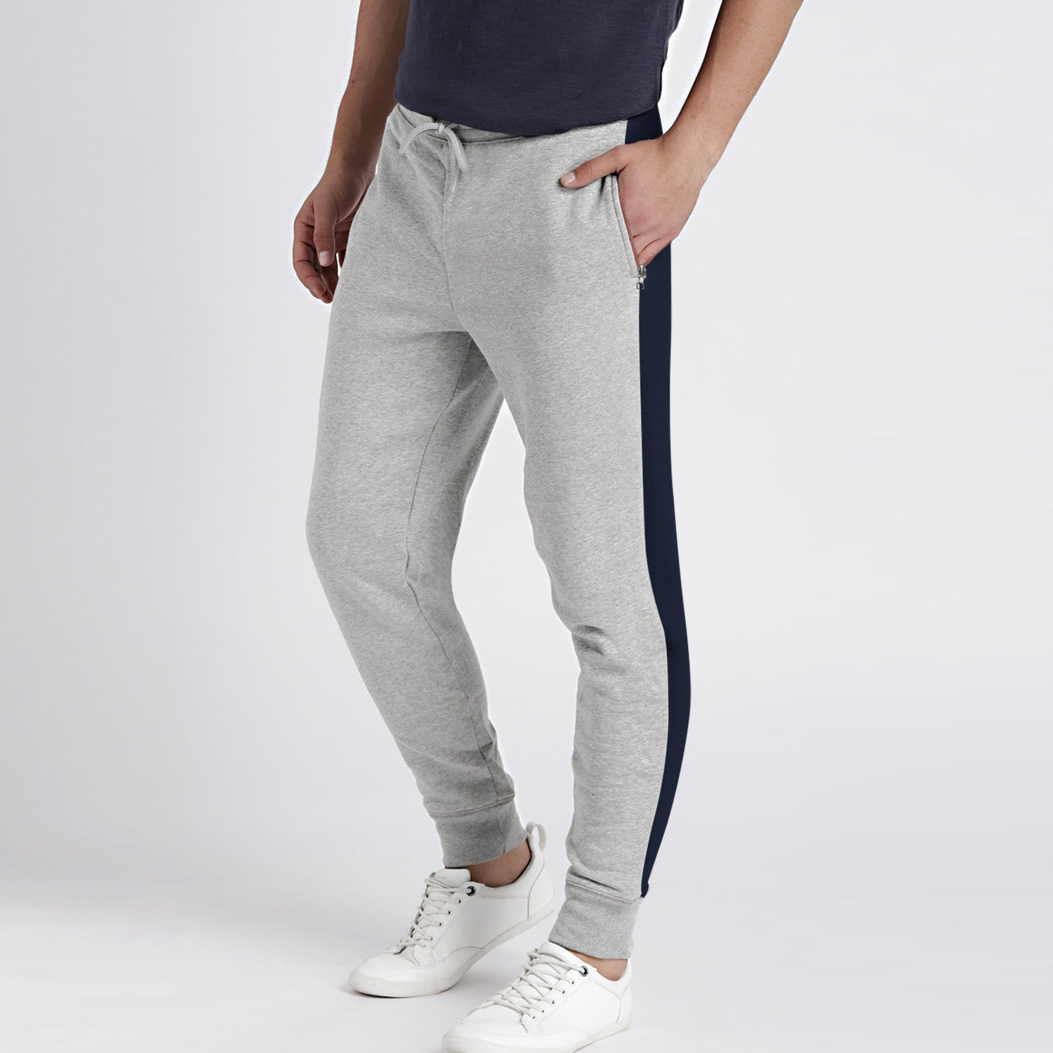 Diesel Summer Slim Fit Panel Trouser For Men-Light Grey & Navy Stripe-BE11925