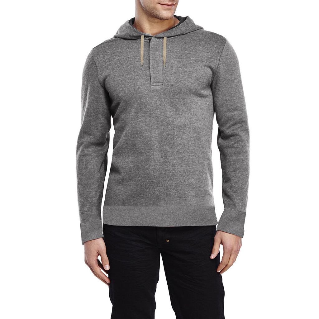 "Men's Cut Label ""Next""Henley Style Thermal Hoodie-Gray-BE117"