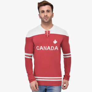 Dolmen Sport Wear Long Sleeve Henley Shirts For Men-Red & White-BE5127