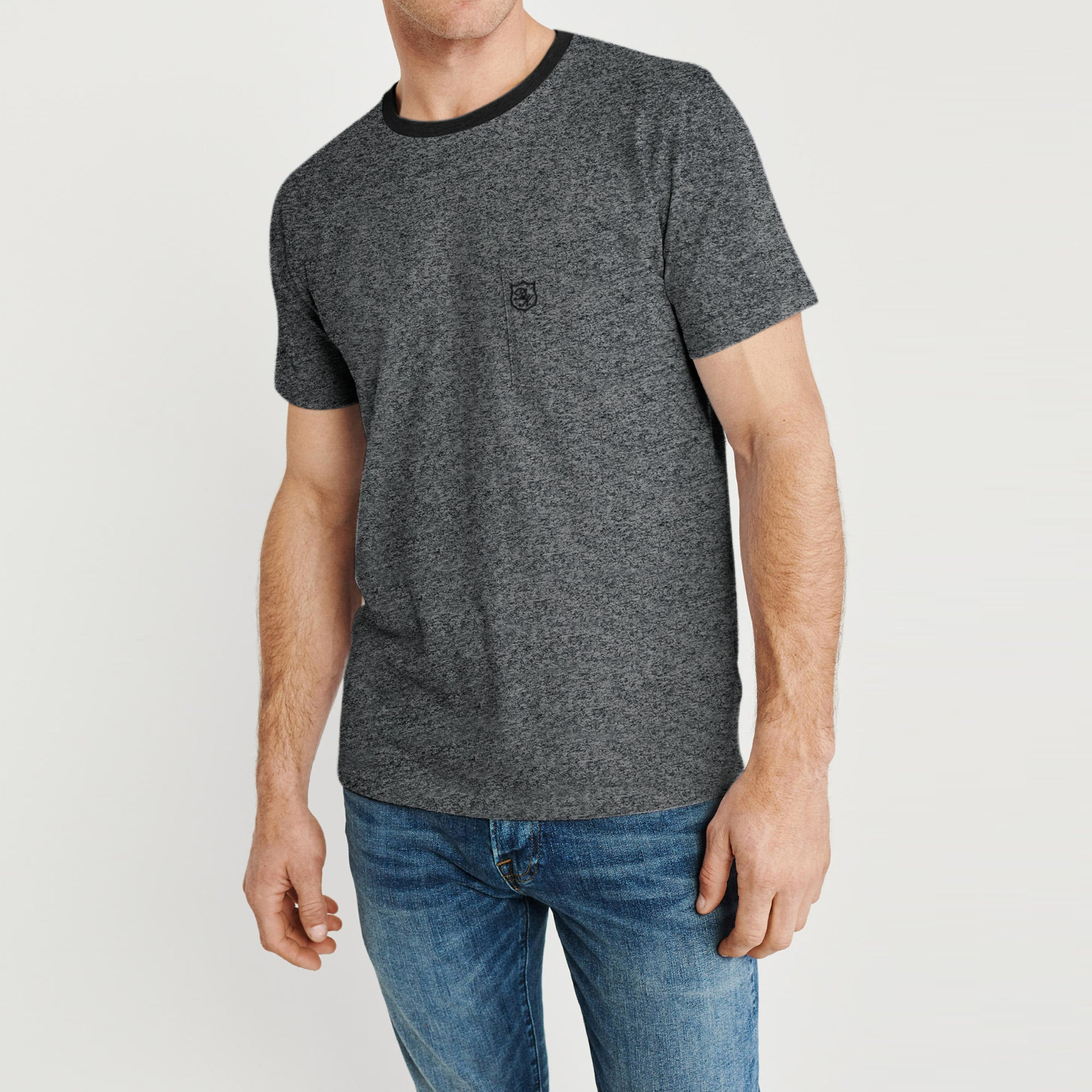 Drift King Crew Neck Single Jersey Tee Shirt For Men-Charcoal Melange-BE8338