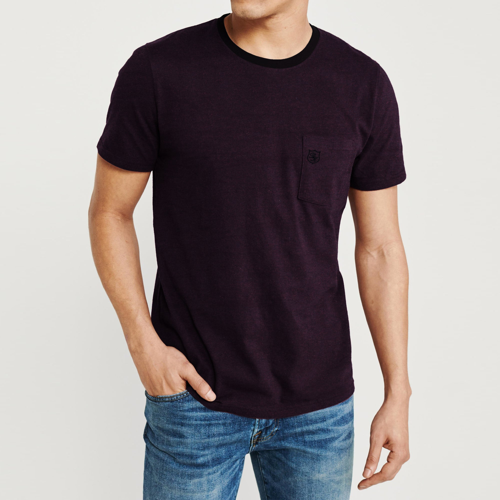 Drift King Crew Neck Single Jersey Tee Shirt For Men-Dark Purple Melange-BE8337