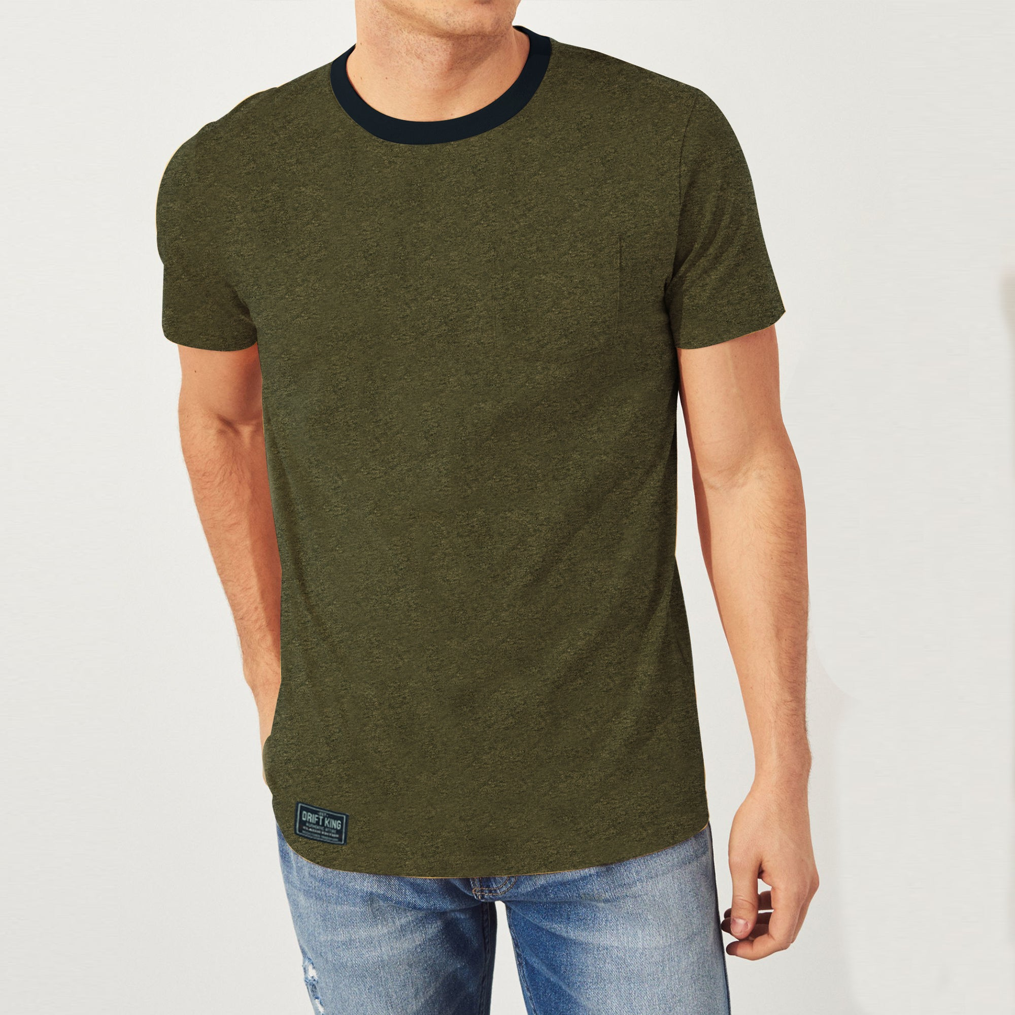Drift King Crew Neck Single Jersey Tee Shirt For Men-Olive Melange-BE8336
