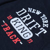 Drift King Fleece Full Zipper Hoodie For Men-Dark Navy Melange-BE6339