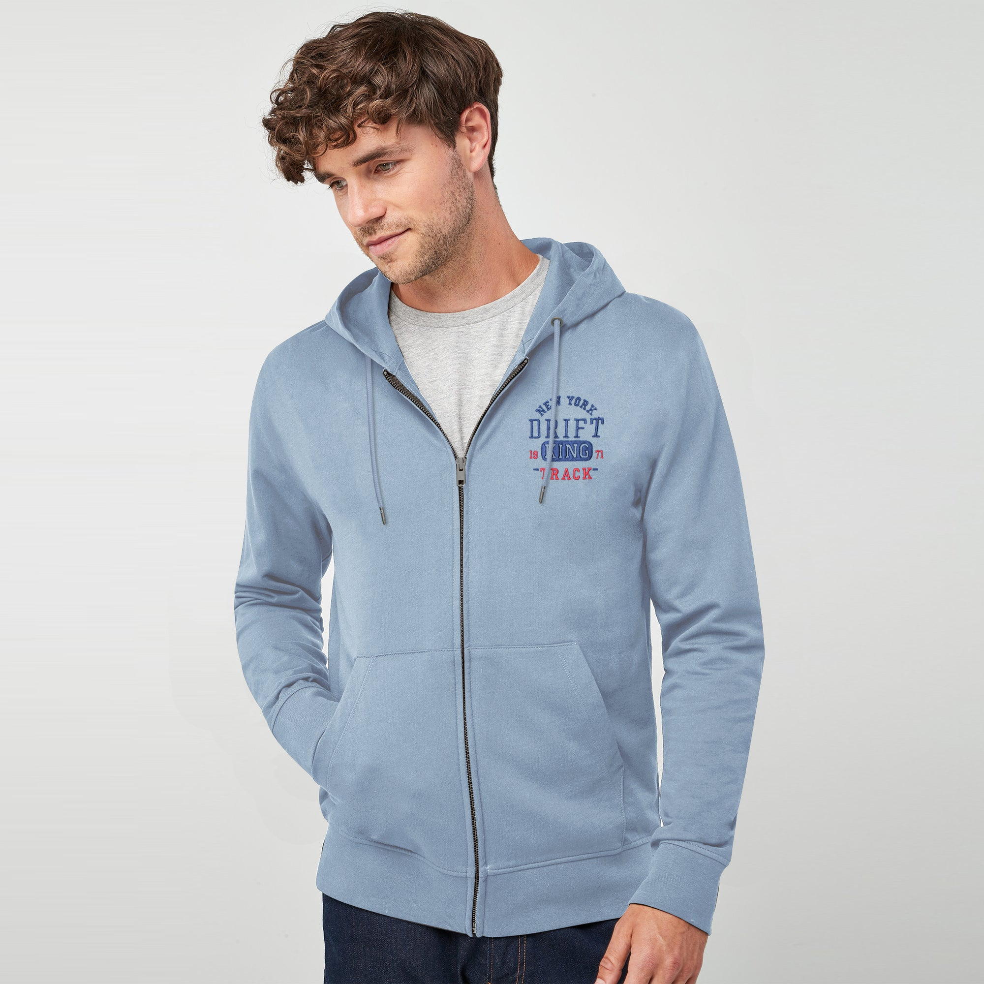 Drift King Fleece Full Zipper Hoodie For Men-Light Sky-BE6337