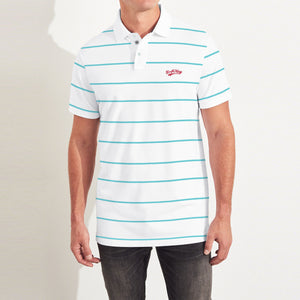 Drift King Single Jersey Polo Shirt For Men-White with Stripe-BE5492