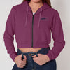 NK Fleece Full Zipper Crop Hoodie For Women-Light Burgundy-SP1329